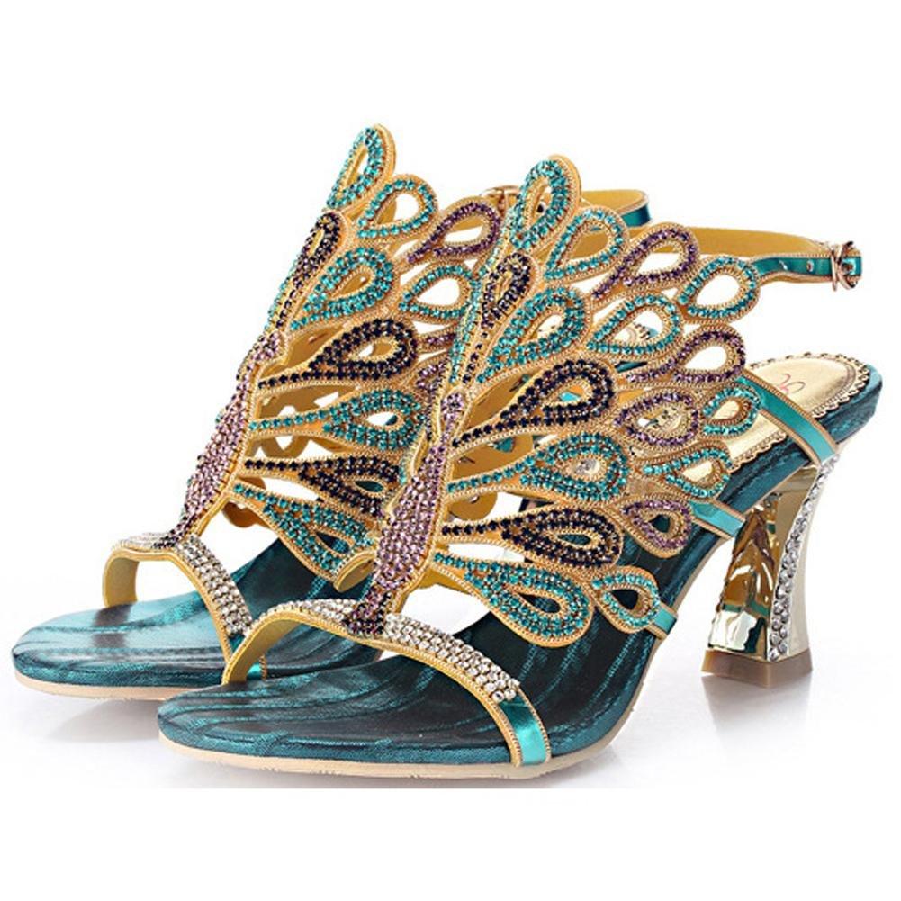 Luxuriouml;s Kristall Dicke High Heels Diamant Sandalen Handgefertigt Leder Frau Abend Bankett Party Nachtclub Pumps Hohl Schnalle Hausschuhe Schuhe35|blue