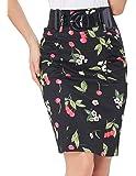 Women Multi-Color Hips-Wrapped Pencil Skirt with Belt KK610&KK271