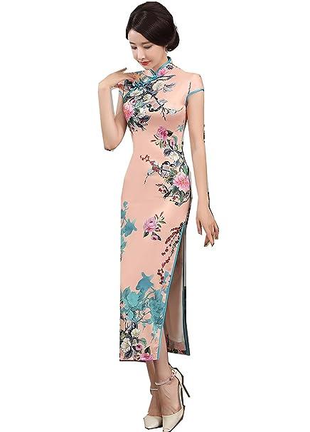 212aacee3 Mujer Vestidos Faux Seda Ropa Tradicional China Vestido de Estilo ...