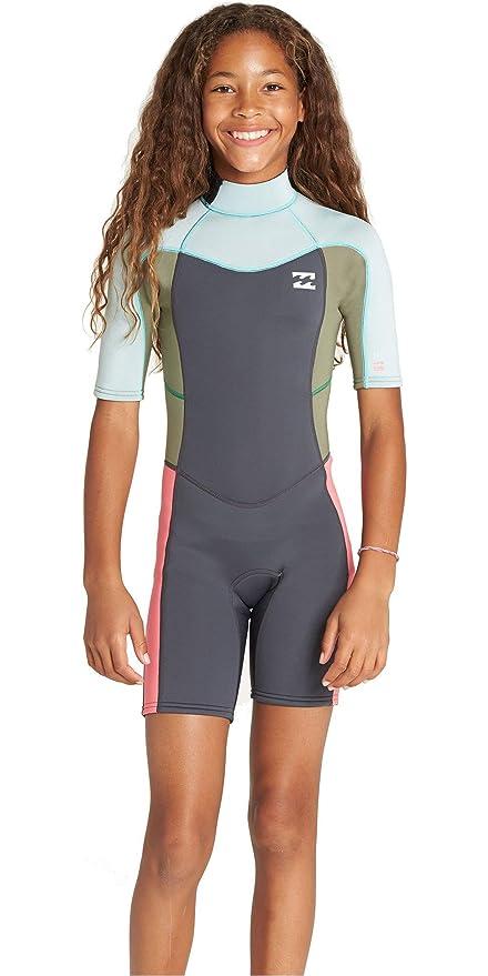 5655c821db Billabong Junior Girls Synergy 2mm Back Zip Shorty Wetsuit Seafoam N42B07  Age - 8Y