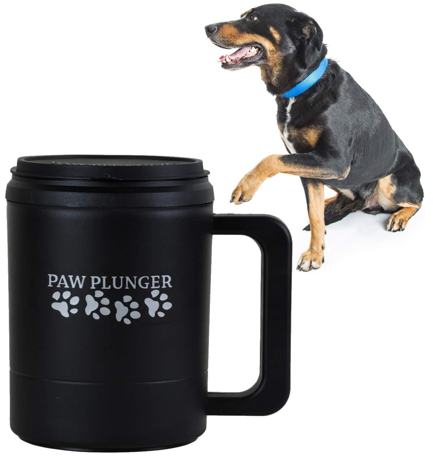 Paw Plunger for Dogs - Portable Dirty Paw Washer for Large Sized Dogs - Ideal for Dogs Over 75lbs - Cleaner Pet Paws to Save Floors/Furniture / Carpet/Vehicle from Muddy Paw Prints - Black