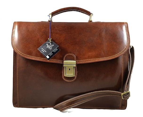 4bef07ba3f Amazon.com  Leather briefcase office bag men ladies bag business leather bag  shouder bag messenger document bag leather handbag brown  Handmade
