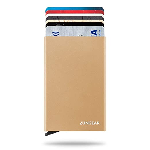 177a52e6b4ef LUNGEAR RFID Credit Card Holder Slim Wallet Front Pocket Card Protector Pop  up Design Aluminum Up to Hold 6 Cards