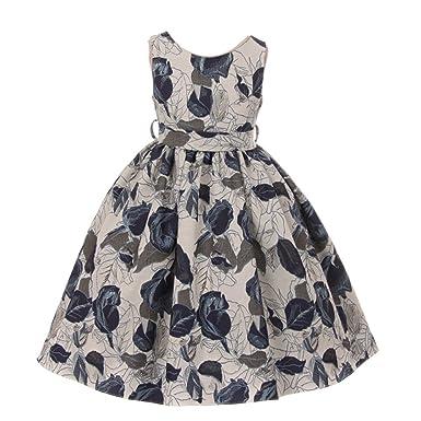 d2d70797361 Kids Dream Big Girls Midnight Blue Floral Jacquard Junior Bridesmaid Dress 8