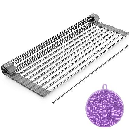 Dish Drying Rack, ZealBea Focus Enrollable Escurreplatos Acero Inoxidable para Fregadero [Silicio Suave de Grado FDA] [Sin BPA] Sobre el Fregadero o ...