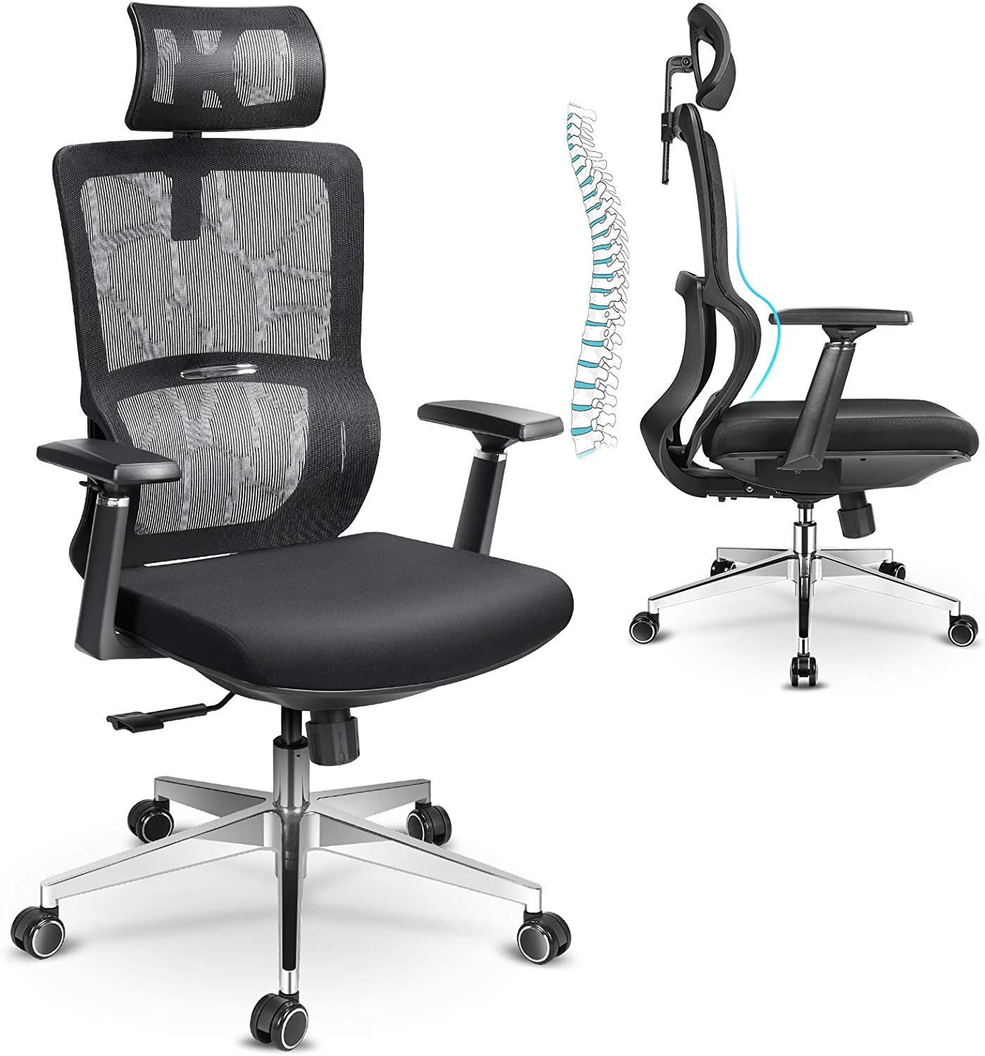 mfavour Ergonomic Office Chair, Mesh Chair with 3D Armrest and Adjustable Headrest, High Back Office Chair with Breathable Mesh and Lumbar Support, Home Office Desk Chairs with Thick Seat Cushion
