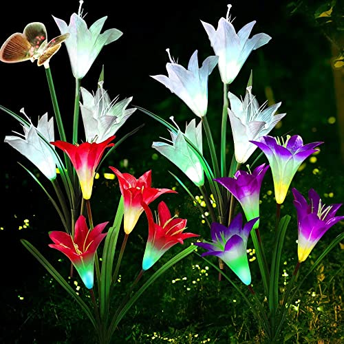 Solar Garden Lights Outdoor Decorations Garden Stake Lights. Multi-Color Auto-Changing LED Lily Flower Solar Powered Lights for Patio, Lawn, Garden, Yard Decoration Solar Lights Outdoor 4Pack