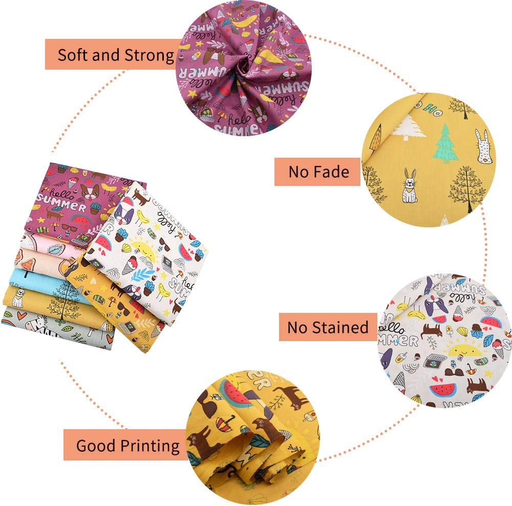 Hanjunzhao Summer Winter Animals Fat Quarters Fabric Bundles 18x22 inches for Quilting Sewing Crafting