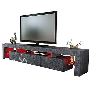 meuble tv bas armoire basse lima xl rock en optique ardoise - Meuble Tv