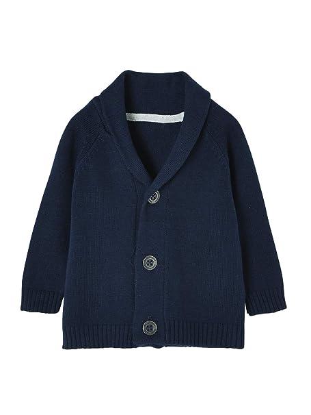 VERTBAUDET Chaqueta de Punto Tricot para niño, con Cuello Chal Azul Oscuro Liso 1-3 Meses, 60CM: Amazon.es: Ropa y accesorios