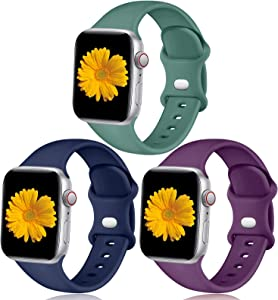 Easuny Sport Bands Compatible for Apple Watch 40mm 38mm Womens Men - Sport Silicone Wristband Strap Replacement Accessories for iWatch Series 6/5/4/3/2/1,3 Pack of Dark Blue/Purple/Pine Green, S/M