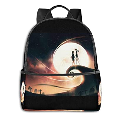 Jack and Sally Nightmare Before Christmas (27) Black Backpack Zipper School Bag Travel Daypack Unisex Adult Teens Gift: Computers & Accessories