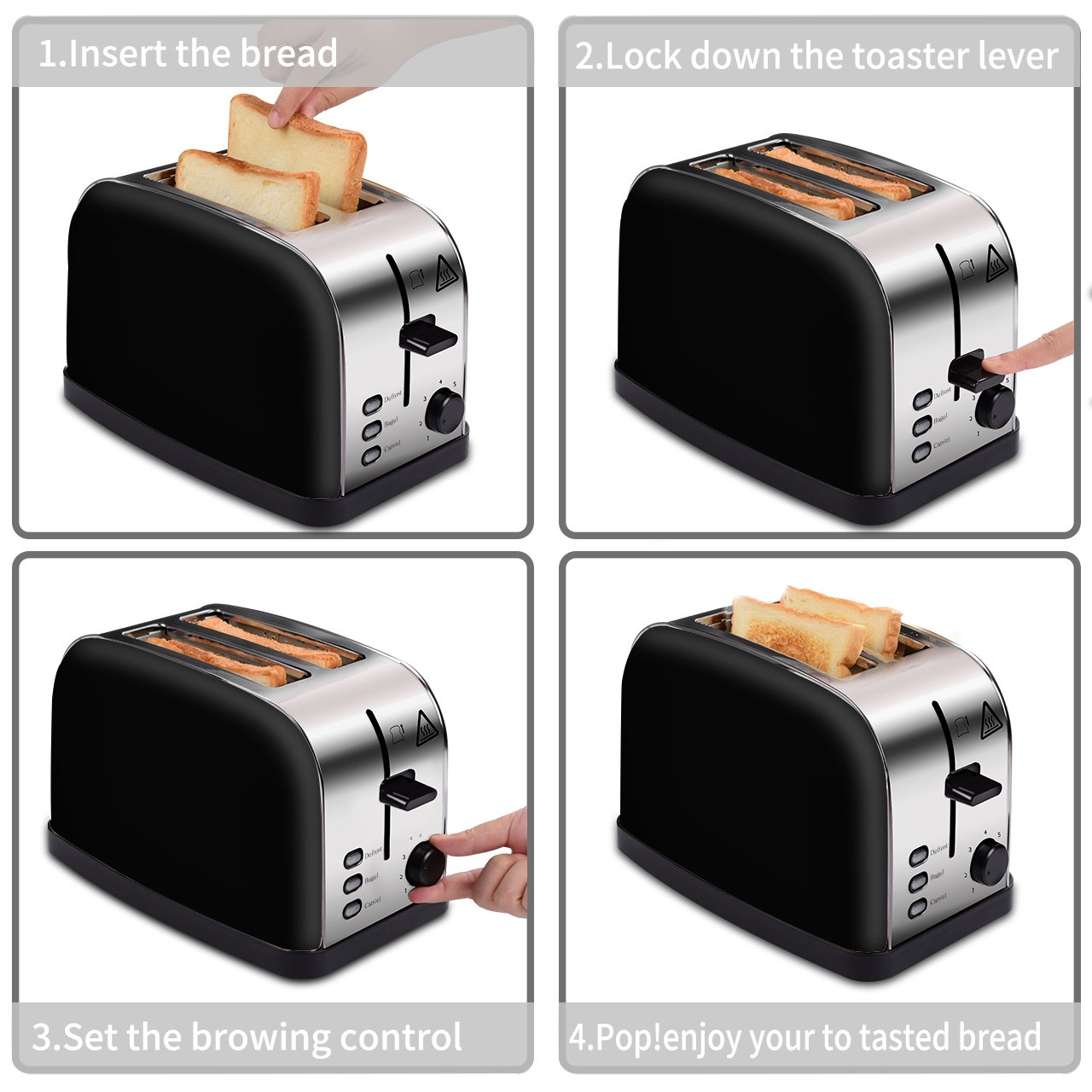 MADETEC 2 Slice Wide Slot Toaster for Bread Bagel, Brushed Stainless Steel Toaster with Removable Crumb Tray,High Lift Lever, Defrost, Bagels and 7 Shade Setting (Black)