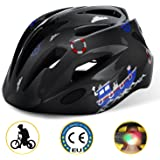 Shinmax Kids Cycle Helmet with Safety light, CE Certified, Adjustable Children's Bike Helmet for 5-13 Years Boys/Girls Cycling Skateboarding/Skate Inline Skating/Rollerblading Ski & Snowboard