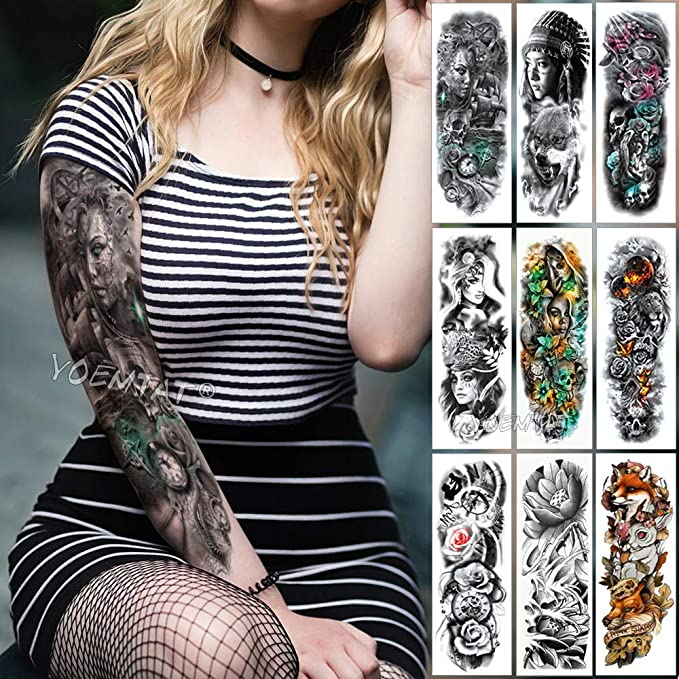 Brazo Grande Manga Tatuajes Brújula Timón Impermeable Tatuajes ...