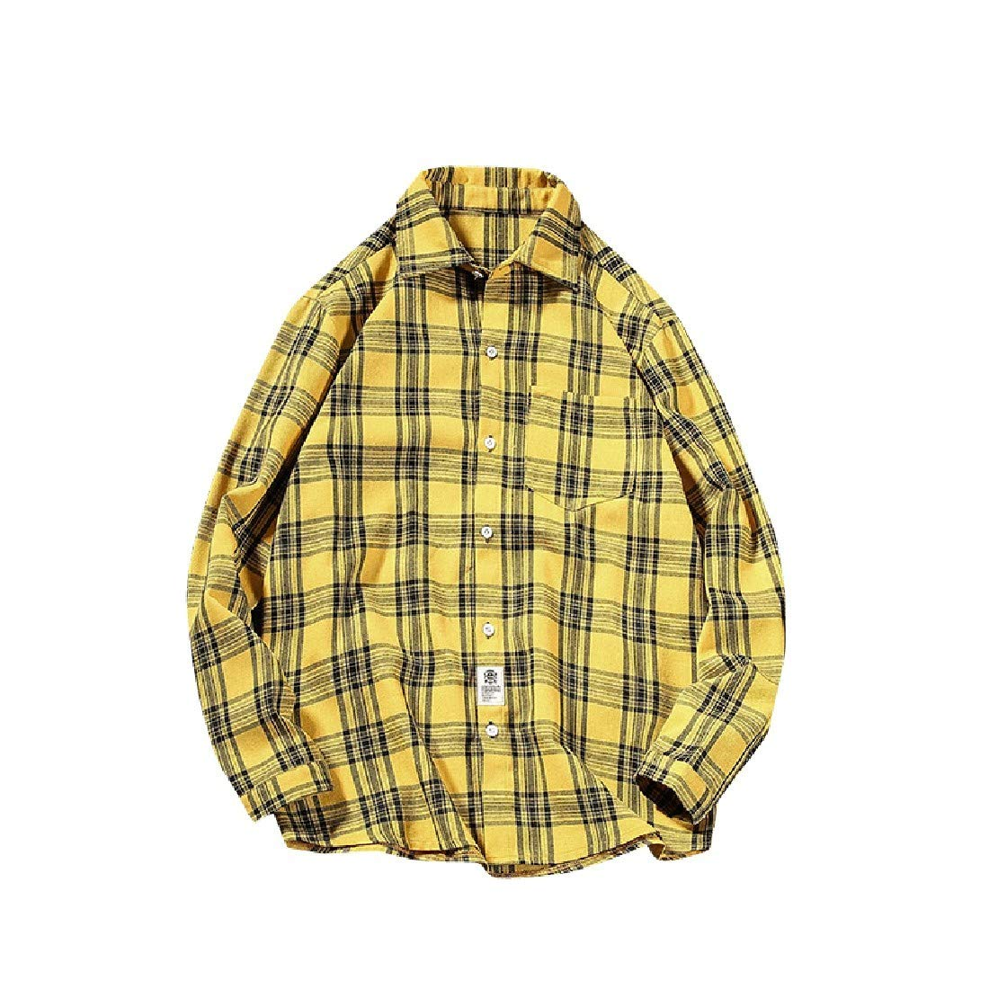 YUNY Mens All-Contest Plaid Lovers Leisure Long Sleeve Polo Top Shirt Yellow S