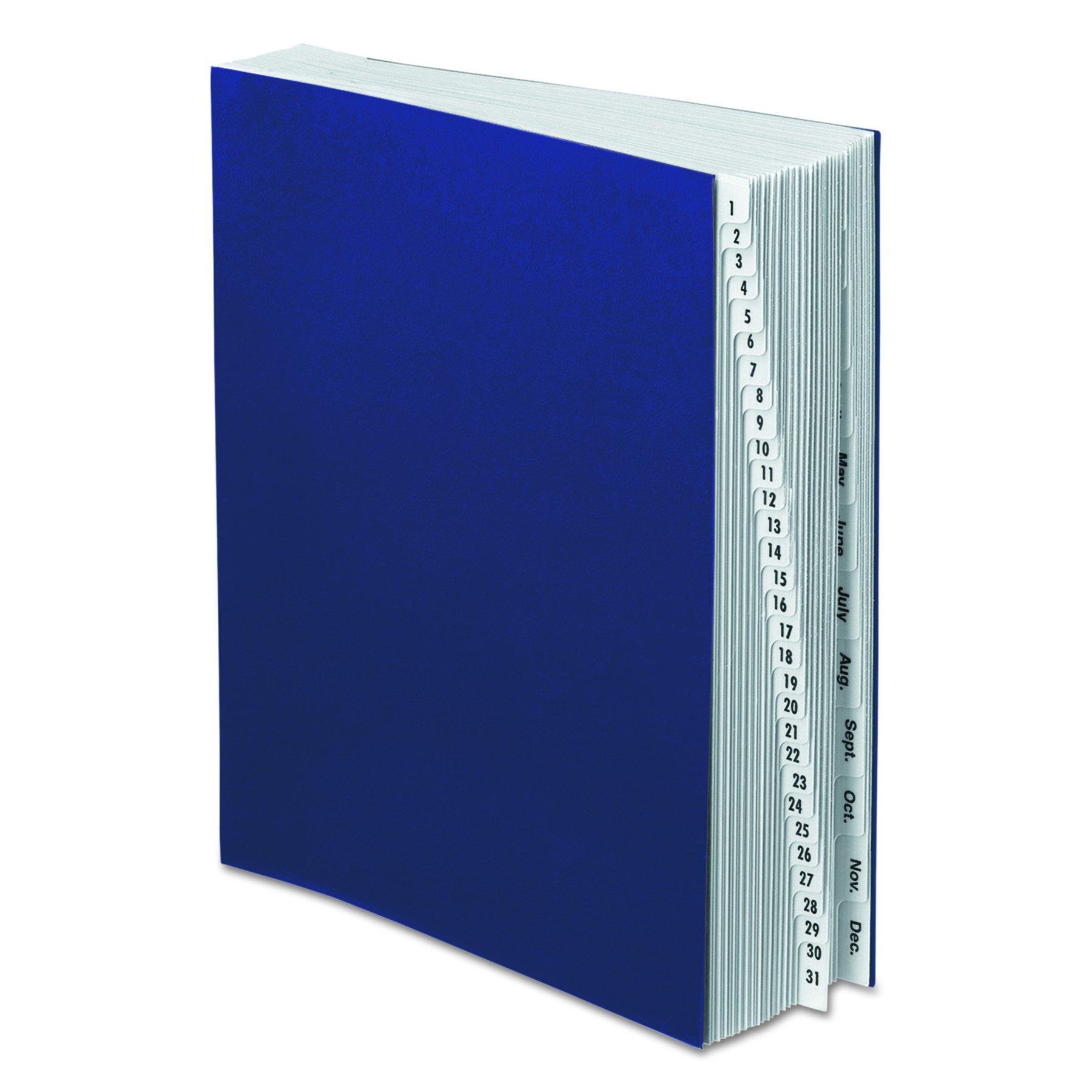 Pendaflex DDF5OX Expanding Desk File, 1-31/Jan-Dec, Letter, Acrylic-Coated Pressboard, Dark Blue