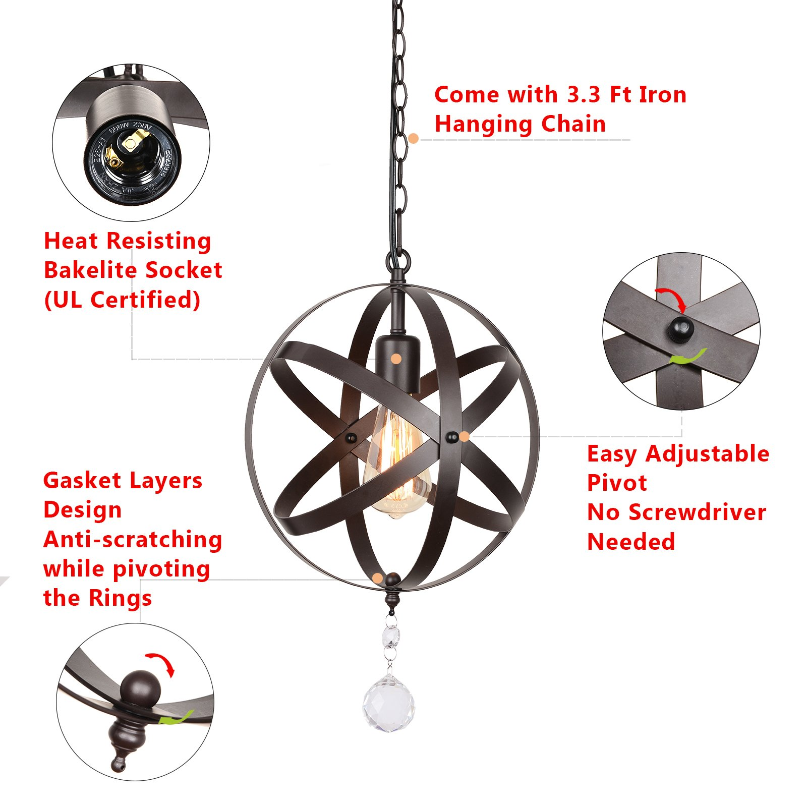 Creatgeek Industrial Globe Chandelier with 15 Ft Plug in Cord, Metal Hanging Chain and On/Off Dimmer Switch, Perfect Vintage Oil Rubbed Bronze Orb Swag Pendant Lights for Home Decor by Creatgeek (Image #4)