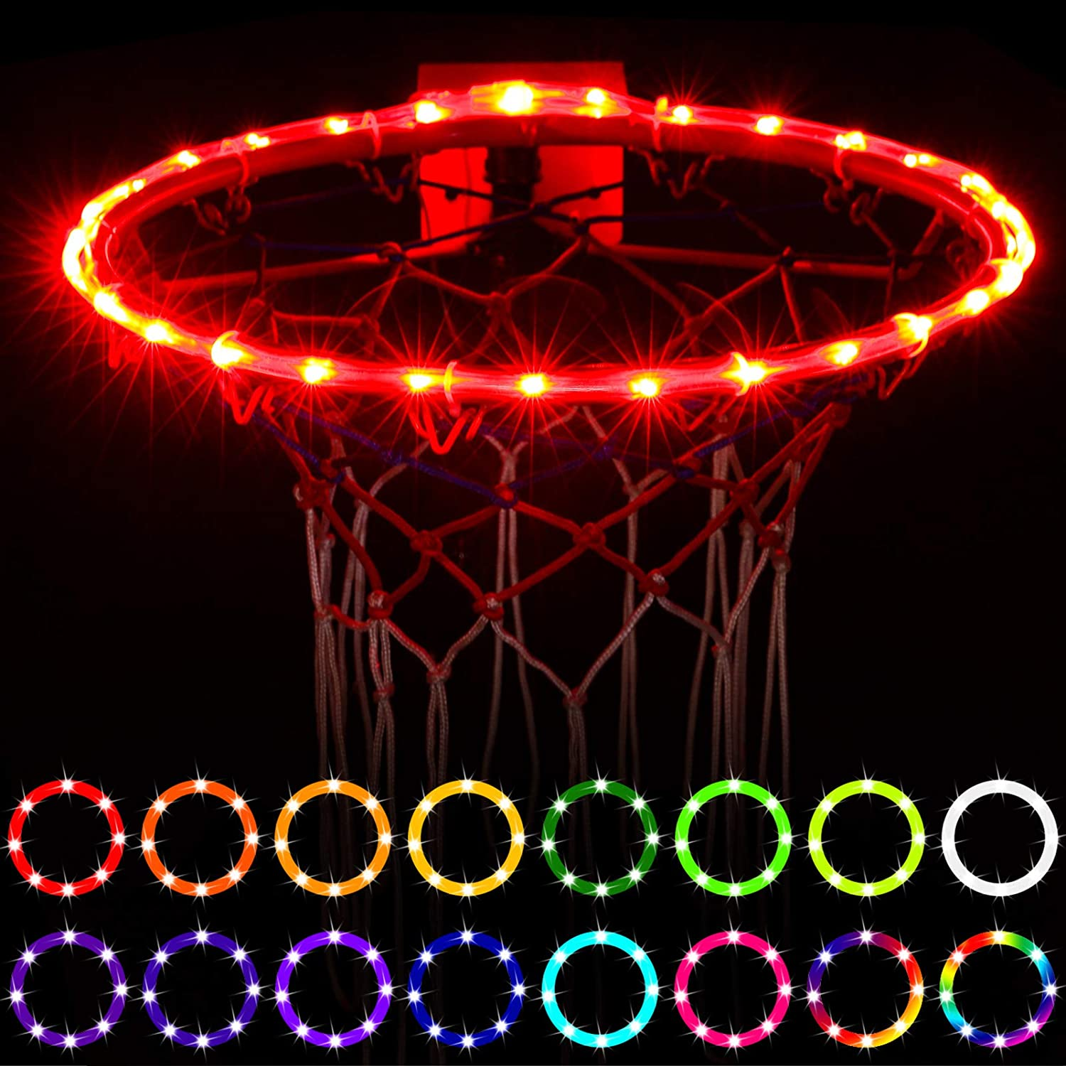 Waybelive LED Basketball Hoop Lights,Remote Control Basketball Rim LED Light, Change Color by Yourself, Waterproof,Super Bright to Play at Night Outdoors, Good Gift for Kids : Clothing
