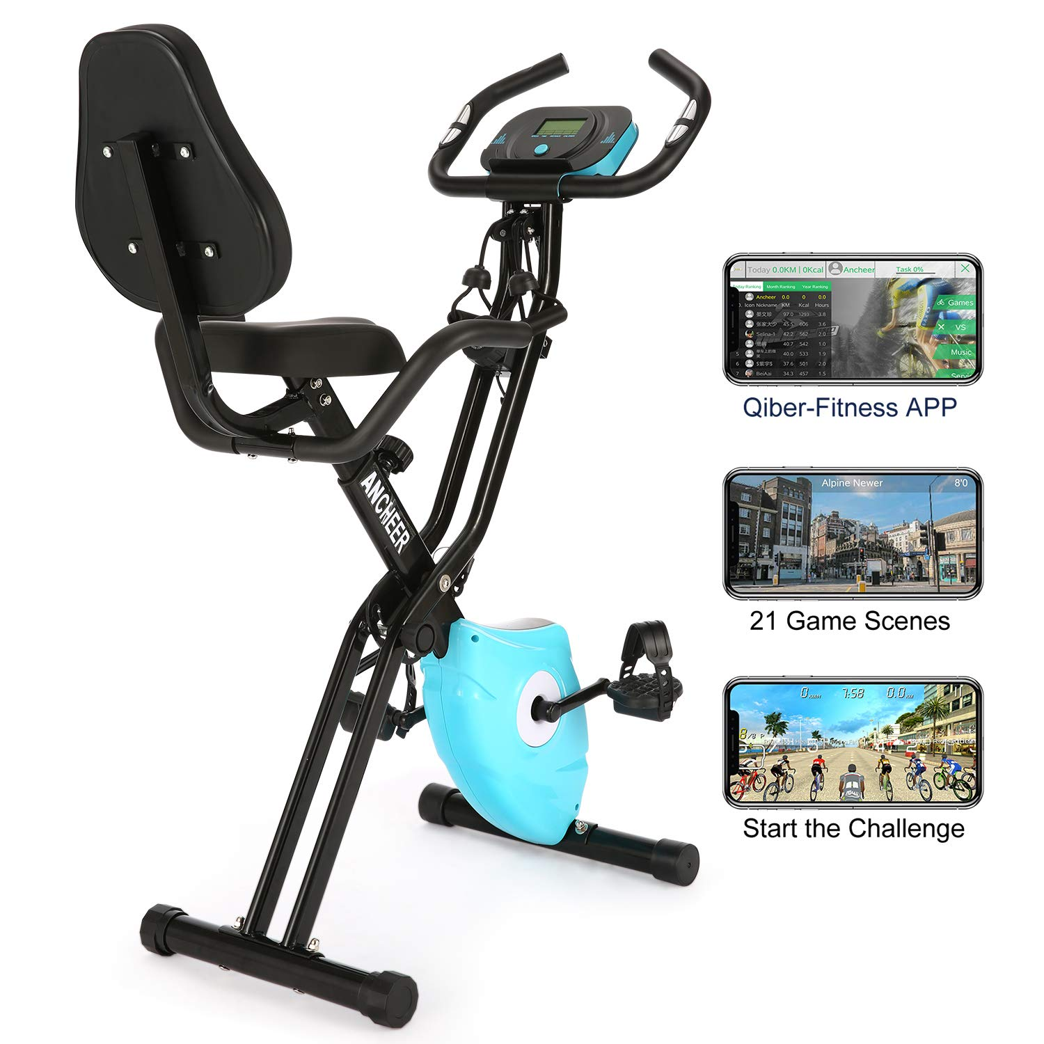 ANCHEER As Seen On TV Cycle 3-in-1 Stationary Bike – Folding Indoor Exercise Bike with APP and Heart Monitor – Perfect Home Exercise Machine for Cardio
