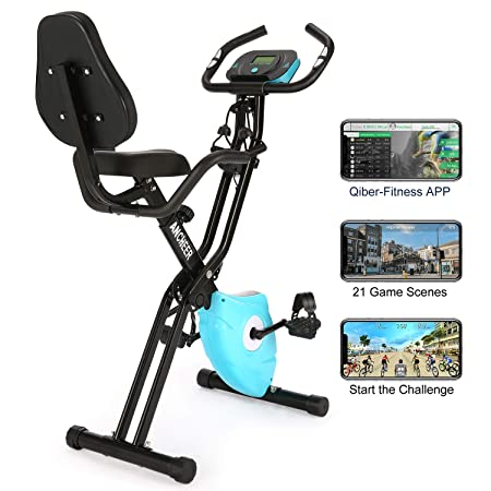 ANCHEER 2 in1 Folding Exercise Bike, Slim Cycle Indoor Stationary Bike with 10-Level Adjustable Magnetic Resistance and Arm Training Bands