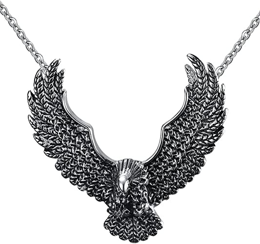 Daesar Stainless Steel Necklace Mens Vintage Eagle Pendant Necklaces 4647mm