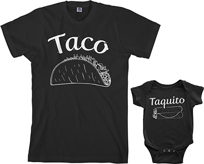 78538a14 Threadrock Taco & Taquito Infant Bodysuit & Men's T-Shirt Matching Set  (Baby: