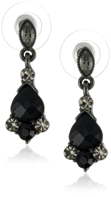 Amazon: 1928 Jewelry Vintageinspired Black Crystal Drop Earrings:  Jewelry