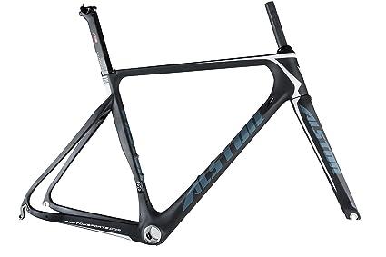 Amazon.com : Alston Carbon Fiber Bicycle 700C Road Frame UD Grey ...