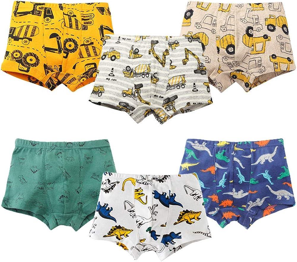 Sunwbak Boys Boxer Briefs Shorts Toddler Kids Cotton Underwear 6 Pack