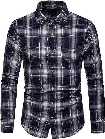 JOLIME Camisa Hombre Cuadros Manga Larga Casual Trabajo Blusas con Bolsillo: Amazon.es: Ropa y accesorios