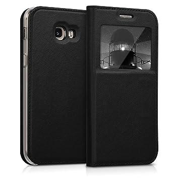 kwmobile Funda compatible con Samsung Galaxy A5 (2017) - Carcasa de cuero sintético con ventana - Case en negro