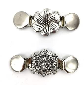 Careor - Juego de 2 clips para suéter, color dorado y plateado con cuentas, perlas elegantes, clip para cuello de cárdigan