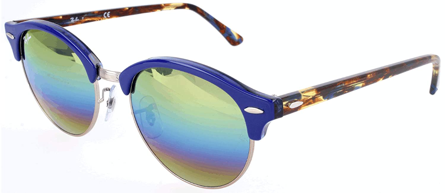 cdb671875fa5 Amazon.com: Ray-Ban Clubround Round Sunglasses, TOP TRASPARENT Blue, 51 mm:  Clothing