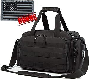 APESNOIC Range Bag Water-Resistant Tactical Gun Range Bag for Handguns Shooting Range Duffle Bags with USA Flag Patch Included.