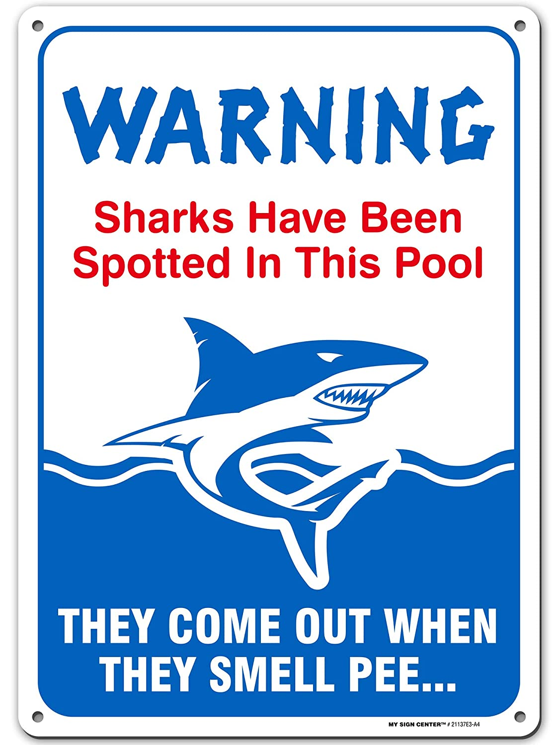 "Funny Swimming Pool Rules No Peeing Sign, Made Out of .040 Rust-Free Aluminum, Indoor/Outdoor Use, UV Protected and Fade-Resistant, 10"" x 14"", by My Sign Center"