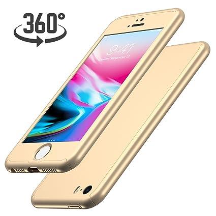 Luckydeer iPhone SE Hülle mit [1x Panzerglas Schutzfolie], Hochwertigem Handyhülle [360 Grad Komplett Schutz], iPhone 5s Hüll