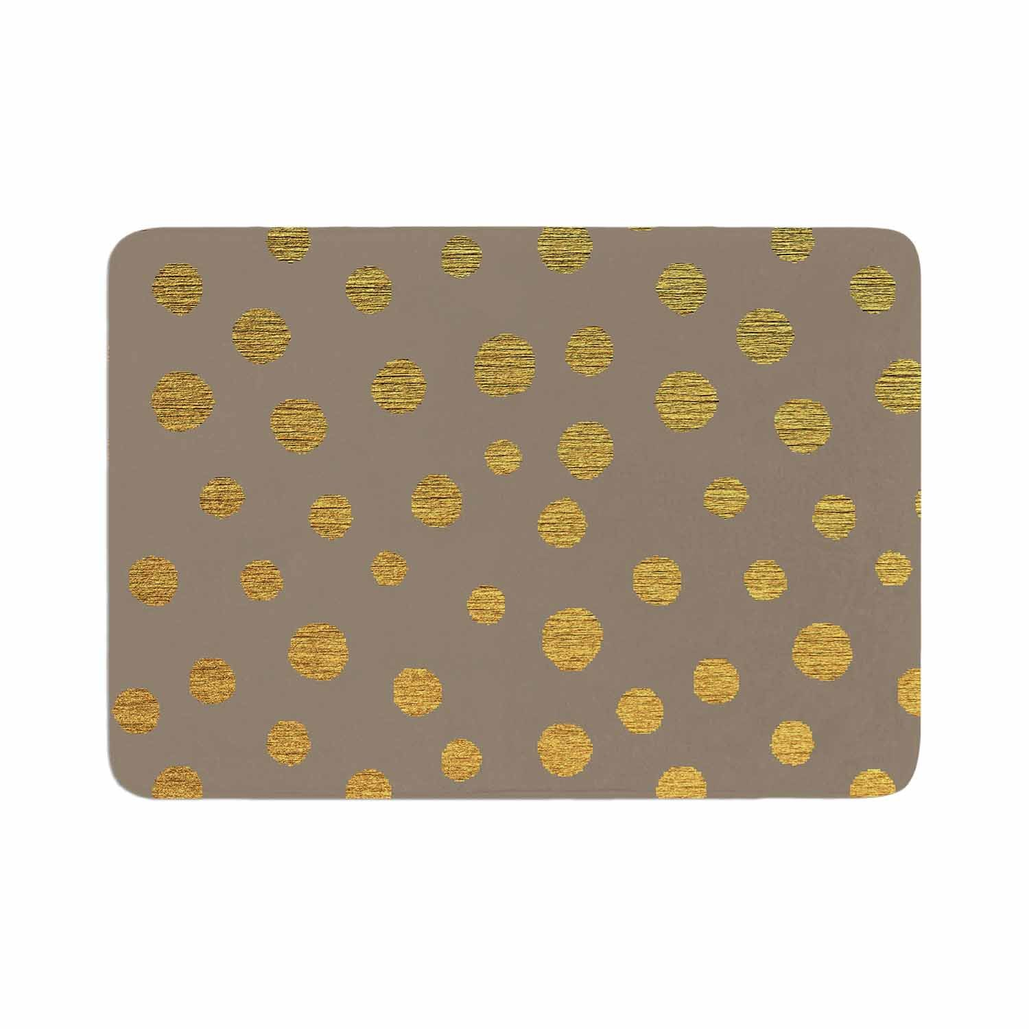 Kess InHouse Nika Martinez Earth Golden Dots Brown Yellow Memory Foam/ Bath Mat 17 by 24