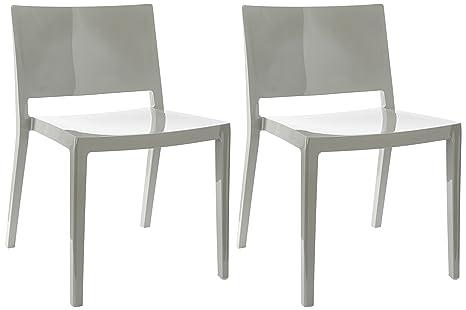 Kartell 4868 07 lizz sedia grigio 2 pezzi: amazon.it: casa e cucina
