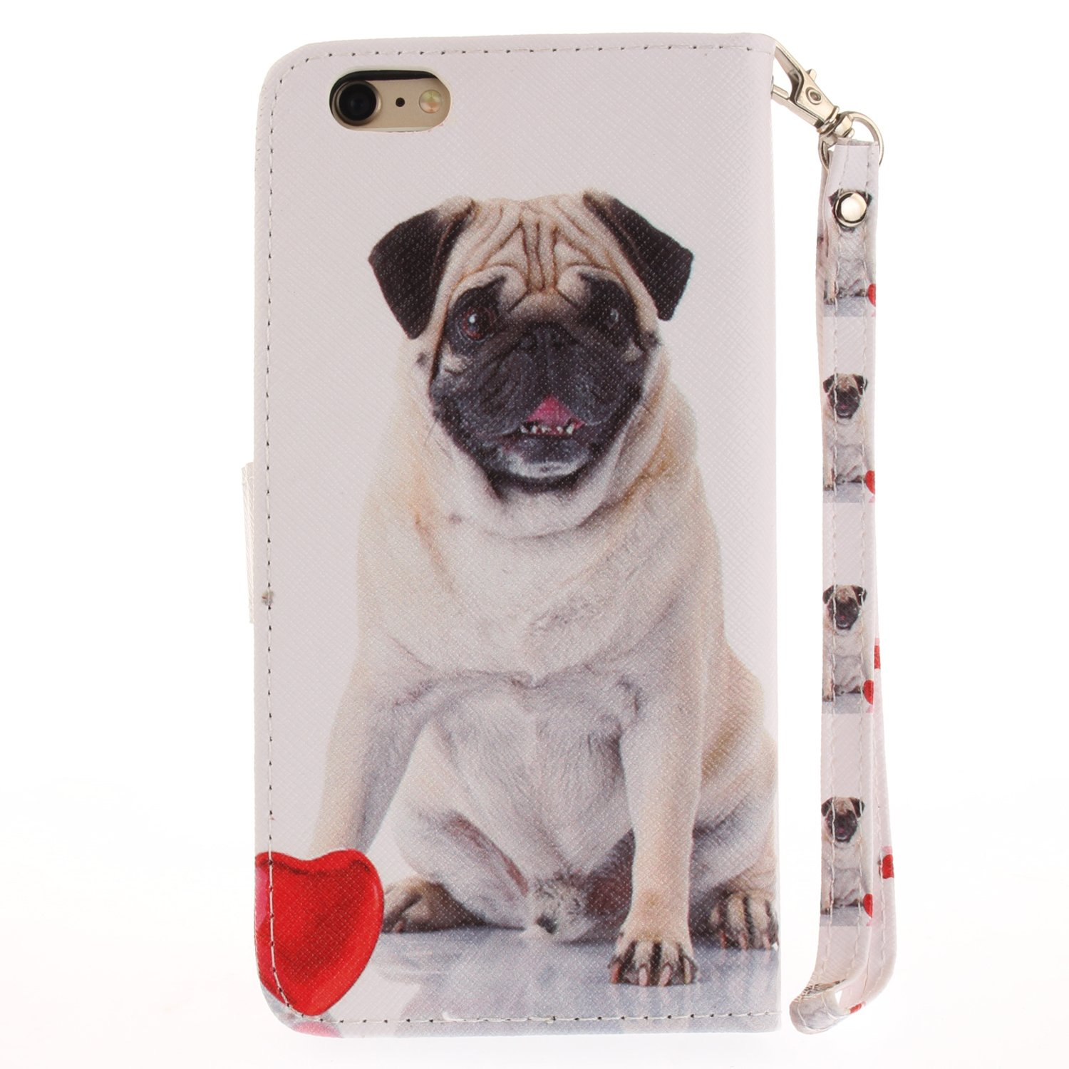 Dog Pug Cartoon Anime Comic Leather Case Card Slot Holder Flip Cover Shockproof Slim Creative Pattern Shell Protective Cover for Apple iPhone 6S Plus Misteem Case for iPhone 6 Plus Animal