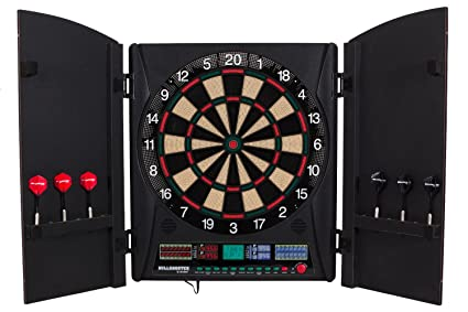 Genial Arachnid Bullshooter Marauder 5.0 Electronic Soft Tip Dartboard Cabinet Set  With Integrated Wood Doors Ideal For