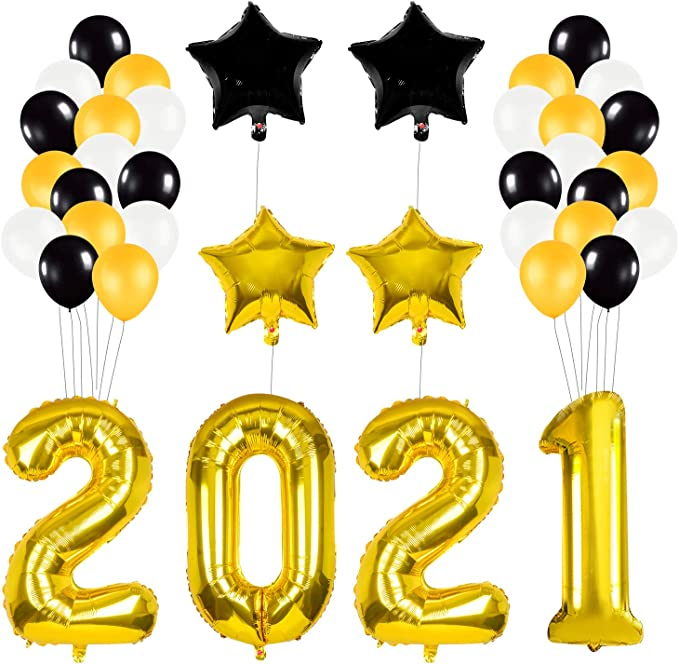 Round Black Gold Happy New Year Neujahr des Foil Ballons Weihnachten Party Dekor
