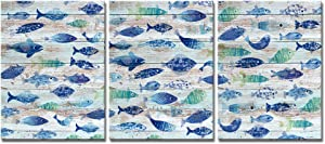 DekHome 3 Piece Abstract Sealife Canvas Wall Art Prints Tropical Fish Canvas Painting Wooden Texture Background Animal Picture Gallery Wrapped Ready to Hang for Coastal Bedroom Home Office Decoration