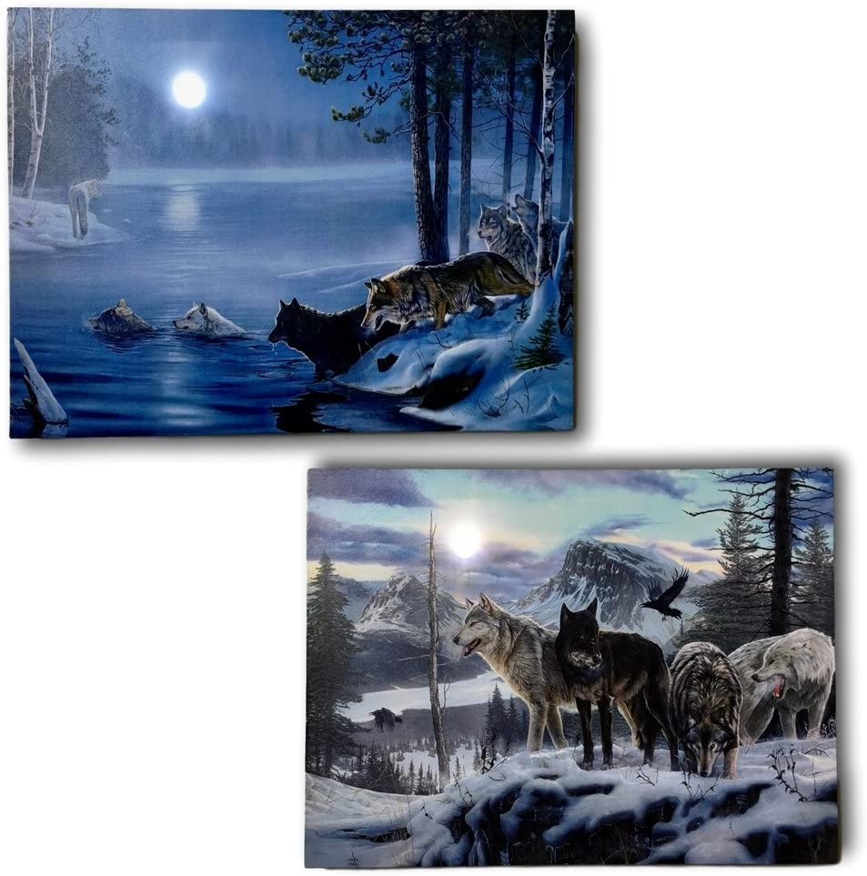 BANBERRY DESIGNS Wildlife Home Decor - Set of 2 Light Up Wolf Prints - Stretched Canvas Artwork with Lights - Snowy Winter Scene with Wolves