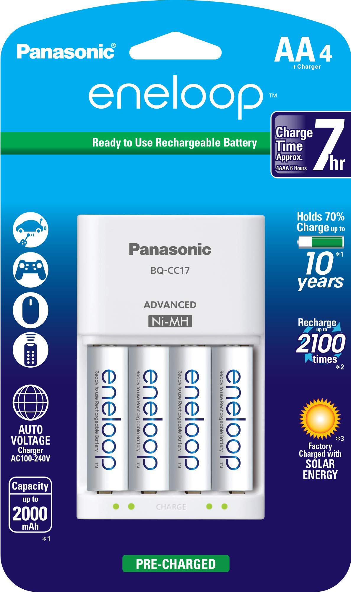 Panasonic K-KJ17MCA4BA Advanced Individual Cell Battery Charger Pack with 4 AA eneloop 2100 Cycle Rechargeable Batteries by eneloop