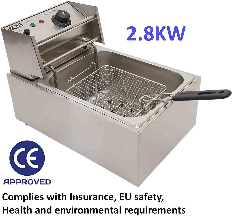 Freidora eléctrica comercial de acero inoxidable, 10 L, 2,8 kW, para llevar restaurante, cafetería, cafetería, cafetería, tienda: Amazon.es: Hogar