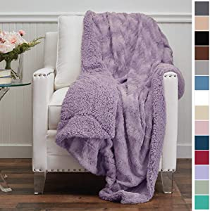 The Connecticut Home Company Luxury Faux Fur with Sherpa Reversible Throw Blanket, Super Soft, Large Wrinkle Resistant Blankets, Warm Hypoallergenic Washable Couch or Bed Throws, 65x50, Purple