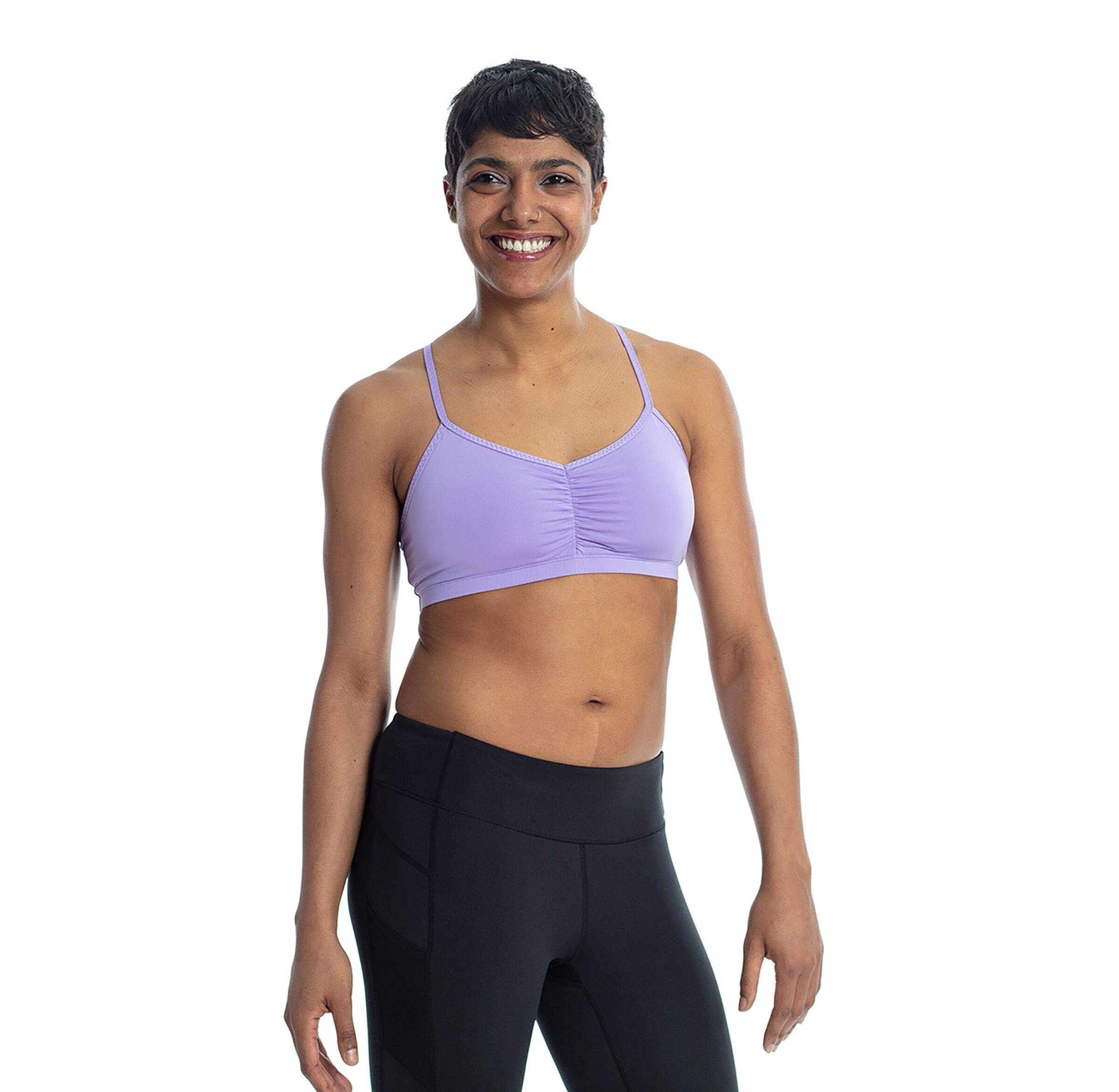 Handful Women's Adjustable Sports Bra with Removable Pads, Seamless Workout Bras, LavendHer, X-Small
