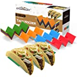 CHARMOUNT Taco Holder Stand Set of 8, Colorful Taco Stand for up to 3 Hard or Soft Shell Tacos, Dishwasher & Microwave Safe T