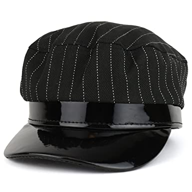 Trendy Apparel Shop Striped Greek Newsboy Style Fiddler Patent Leather Trim  Hat - Black de65404711e